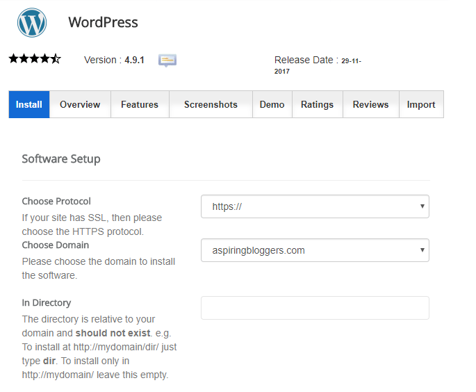 WordPress Installer - Siteground - creating a self-hosted wordpress blog