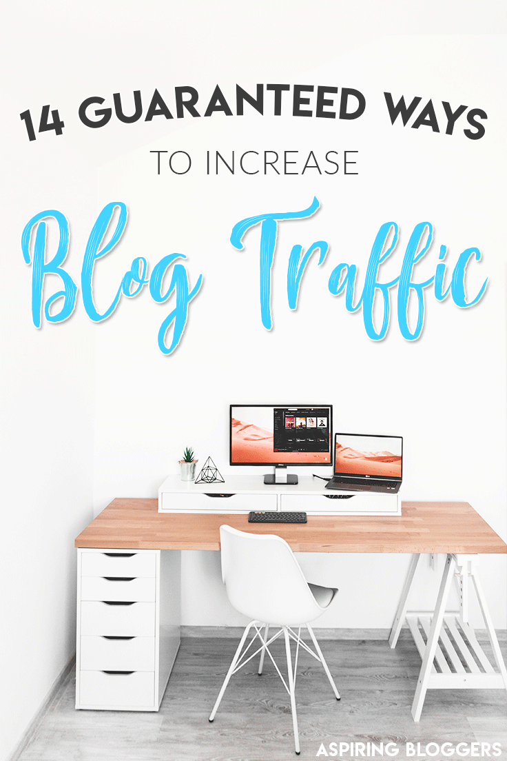 Learn 14 guaranteed ways to get traffic on your blog. Blog promotion, blog traffic tips, promote blog post, more blog traffic, more blog views.