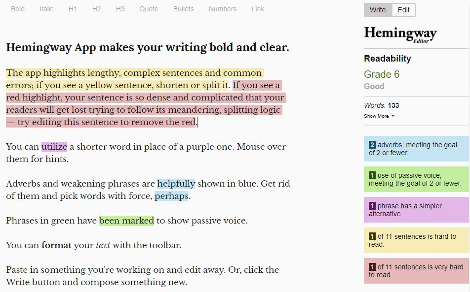 Writing Tools - Hemingway Editor