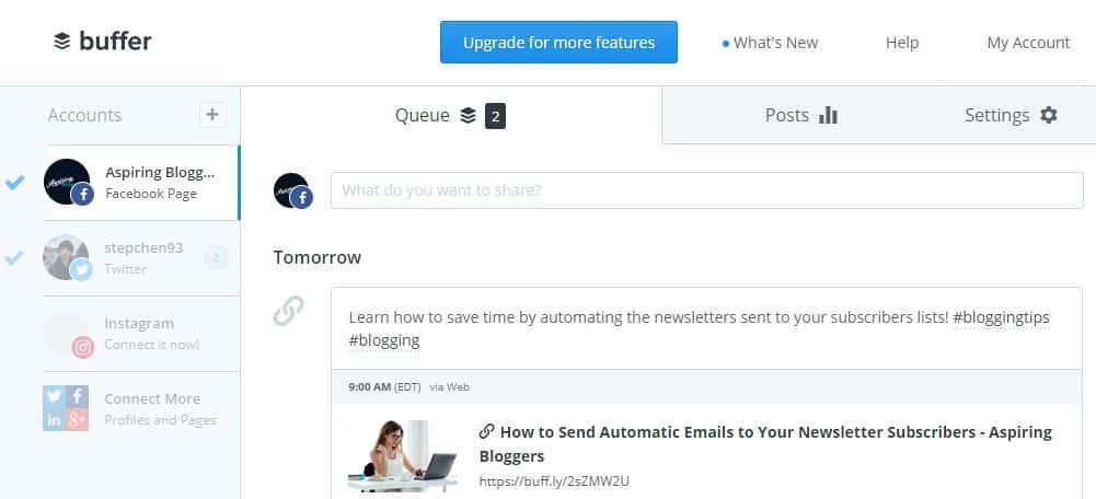 Buffer Screenshot - Social Media Tools