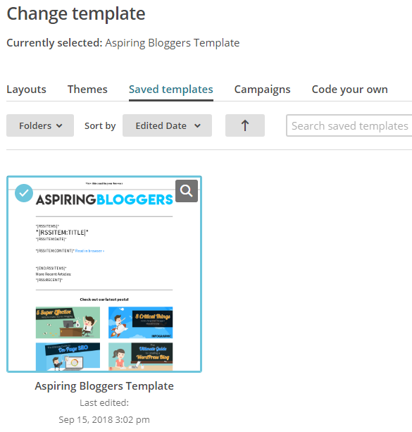 Saved Templates - Mailchimp