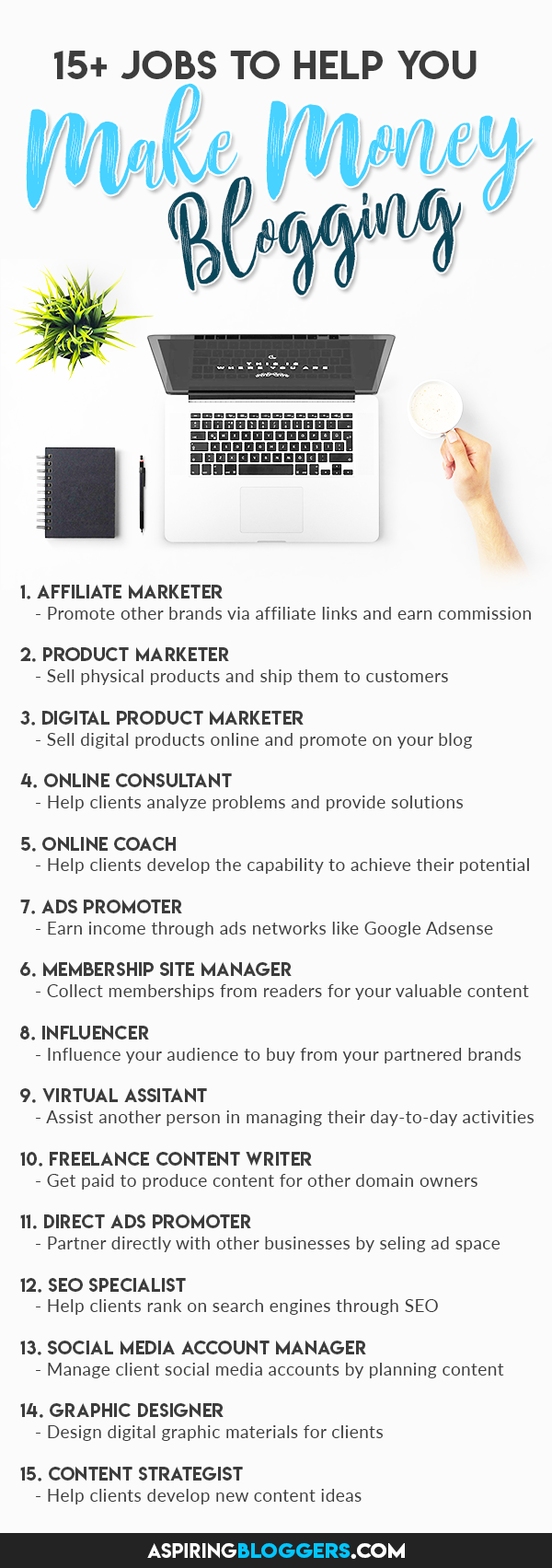 Want to make money online? Here are 15+ jobs that you can do from home! Click to find out more. How to Make Money Blogging   Make Money Online   Passive Income   Work at Home   Work From Home #makemoneyblogging #makemoneyonline