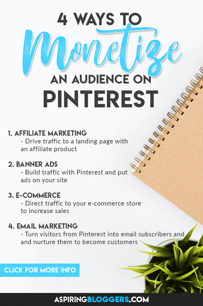 Want to start earning from Pinterest? Here are 4 ways to monetize your audience. Click to find out more. Pinterest Marketing | Make Money Online #makemoneyonline